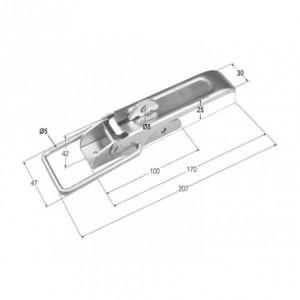 Cierre de chapa estampado con seguro (207x30) (CH-34)