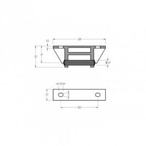 Bisagra  TIR-8 aluminio 128x27 Diam. 12 (TIR-8 AL)