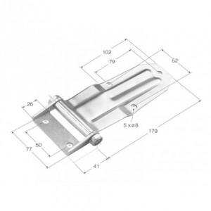 Bisagra de libro acodada (nervio ancho) 179x60 (BCS-12 INOX)