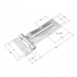 Bisagra de libro acodada (nervio largo) 142x55 (BCS-1)